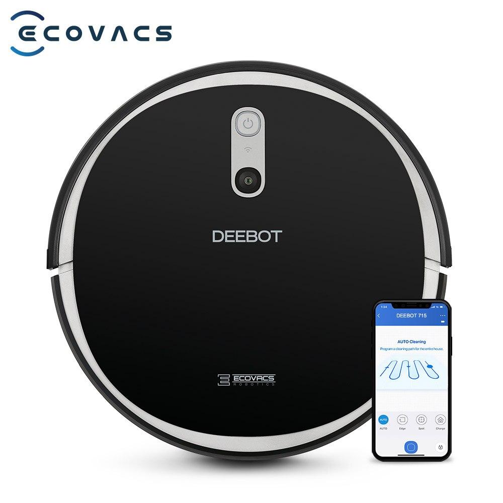 Ecovacs deebot 715 robô inteligente aspirador de pó, smart navi 2.0, sucção max, suga e esfrega 2 em 1, controlado por app, outa atualização
