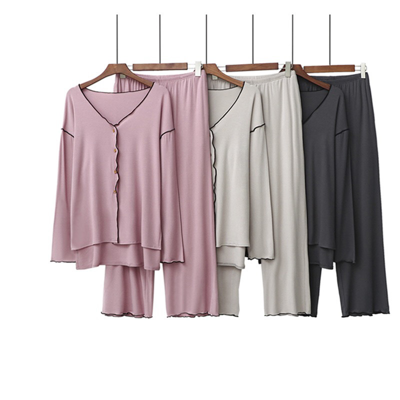 2020 Spring New Solid Color Sexy V-Neck Ladies Pajamas Set Women Comfort Full Cotton Loose 2Pcs Homewar Femme Soft Casual Wear