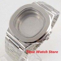 時計ケース 40 ミリメートルサファイアガラス腕時計男性 316L ステンレス鋼の正方形ケースブレスレットフィット ETA 2836 miyota 8215 運動 c162