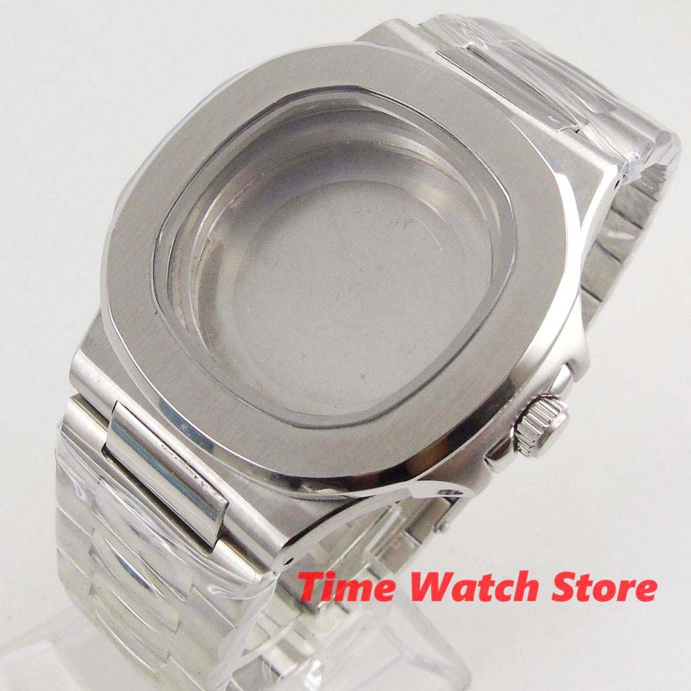 Caixa do Relógio de Vidro Quadrado com Pulseira Safira Inoxidável Case Ajuste Eta 2836 Miyota 8215 Movimento C162 40mm Men 316l Aço