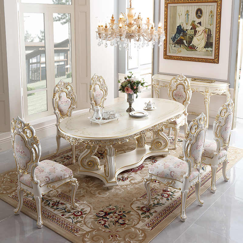 Dinning Room Furnitures Luxury Italian Antique Royal Luxury Dinning Table Solid Wood Carved Gold Dinner Table 6 8 Chairs Dining Tables Aliexpress