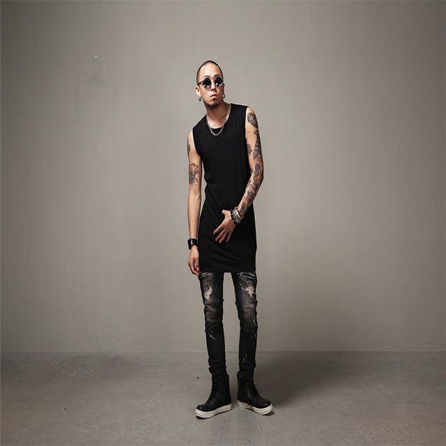 Fashion Mens Black Jeans Streetwear Distressed Denim Pants Cotton  HipHop Trousers  Jeans