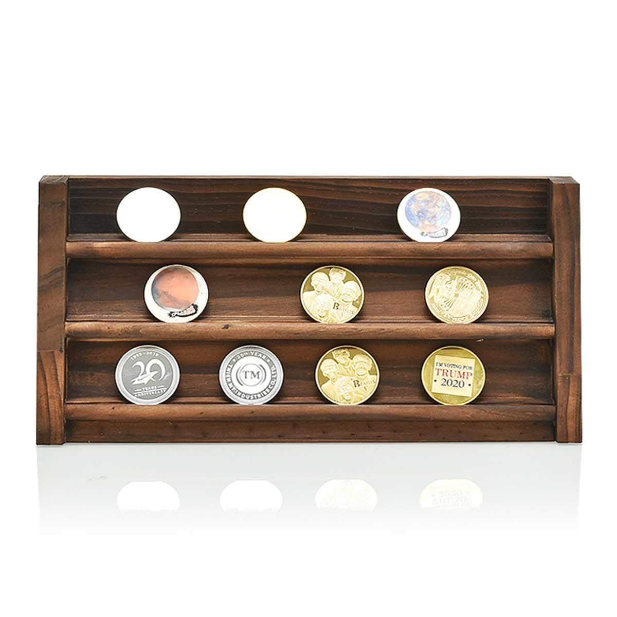 2 Styles Coin Display Stand Coin Case Collector Wooden Coin Storage Shelves Collectible Coins Holder Display Album Coin Case