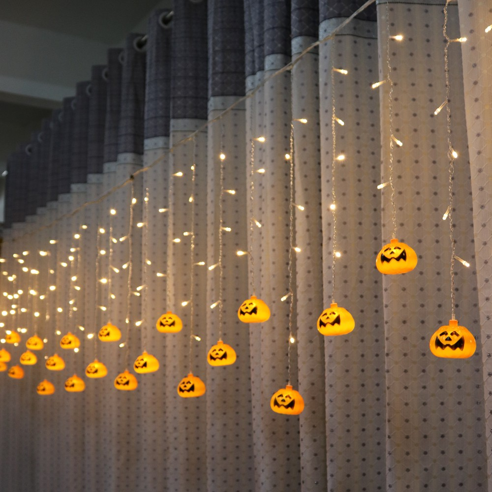 Halloween Pumpkin LED String Lights 3.5M 5M AC220V Orange Pumpkin Led Curtain String Lights For Christmas Garden Outdoors Decor