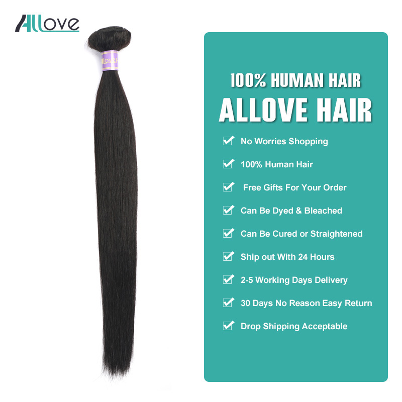 Allove Straight Hair Bundles Brazilian Hair Weave Bundles 100% Human Hair Bundles Natural Color Non Remy Hair Weave 1/3/4 Pieces