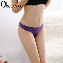 Ice Silk Thong Sexy Pantie Seamless G String for Women Underwear Ladies String Underpants Low Waist Bikini  sexy solid color