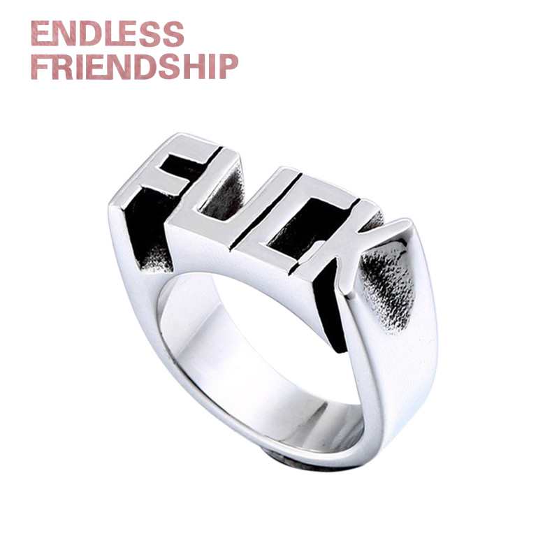 Endless Fashion Letter Ring Man Style Stainless Steel Rings For women Wedding Custom Letters Initials Ring F Word Punk Style