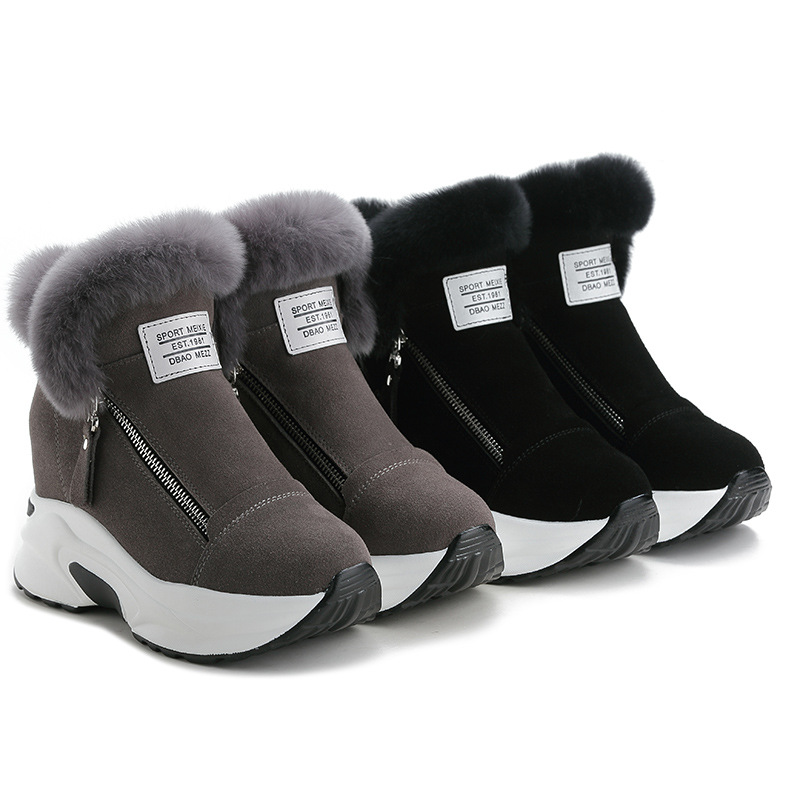 SWYIVY Chunky plate-forme baskets lapin fourrure hiver chaussures femmes neige bottes Wedges 2019 femme décontracté court bottines chaud