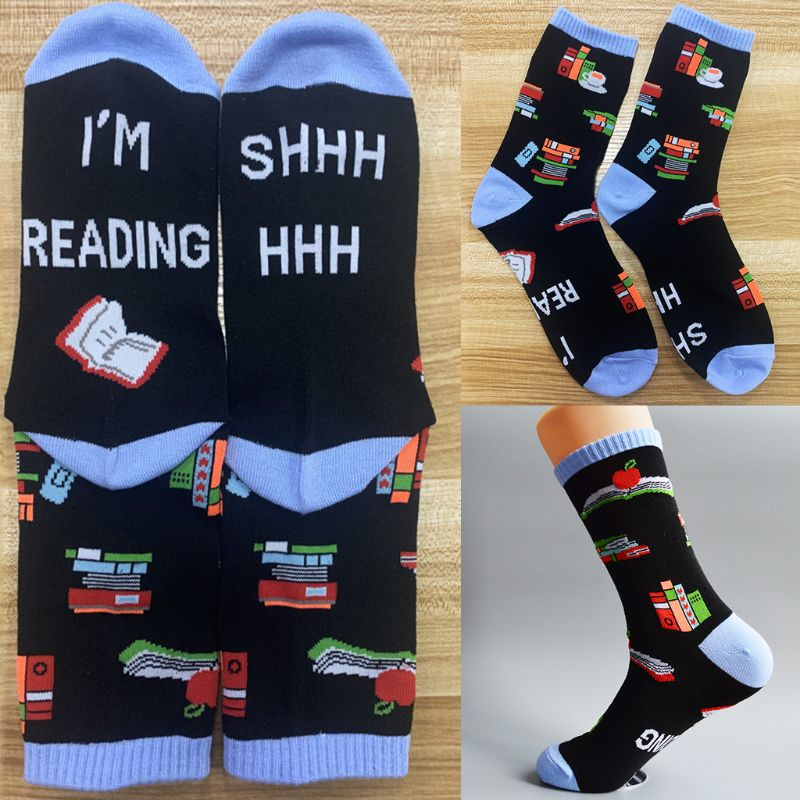 Unisex Funny Saying Novelty Cotton Crew Socks Shhh I Am Reading Letters Cartoon Books Print Mid Tube Xmas Gift