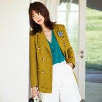 Original Design AIGYPTOS Spring Summer Women Coat Elegant French Office Lady Slim Linen Suit Medium Length Casual Loose Blazers