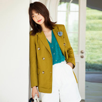 Original Design AIGYPTOS Spring Summer Women Coat Elegant French Office Lady Slim Linen Suit Medium Length Casual Loose Blazers
