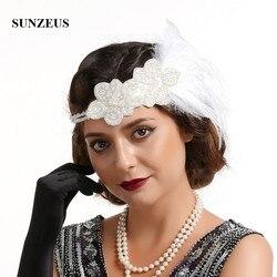 1920s Vintage bandeau pour mariée mariage cheveux décorations perlé élastique bandeau plumes femmes Fanscinators chapeaux BQ021