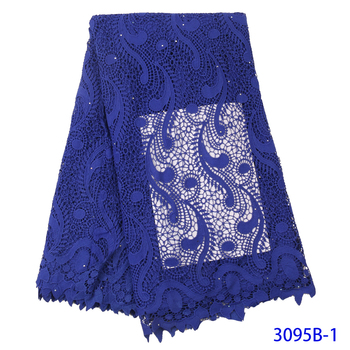 African Cord Lace Fabric Royal Blue Water Soluble Dress Lace Stones 2019 High Quality Nigerian Guipure Lace Fabrics GD3095B-1