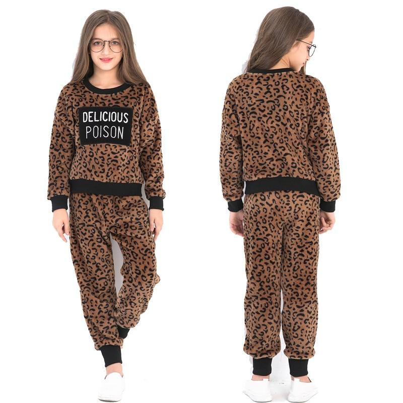 Детские комплекты для девочек, новый осенне зимний костюм леопардовый костюм с надписью + штаны комплекты для отдыха Одежда для девочек от 6 до 14 лет|Комплекты одежды| | - AliExpress