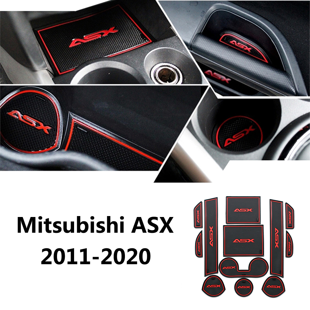 Car Anti Slip Dacorative Cup Gate Slot Pad Door Groove Mat For Mitsubishi ASX 2011 2012 2013 2014 2015 2016 2017 2018 2019 2020