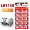 Оригинальные щелочные батареи 20 шт./лот PANASONIC LR1130 189 1,5 в AG10 LR54 SR1130W, Кнопочная батарея 0% Hg для пульта дистанционного управления