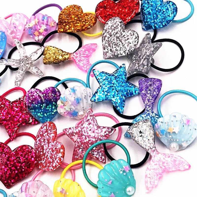 1Pcs Twinkle ปลาดาว Mermaid tail Headbands เด็ก Elastics ผมเด็กผู้หญิงวงผมสาวผมเชือก