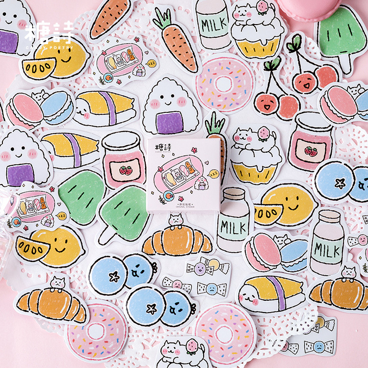 45pcs/pack Kawaii Stationery Sticker Set Yummy Milk Beard Sticker Label For Scrapbooking Album Decoration Art Diy Craft