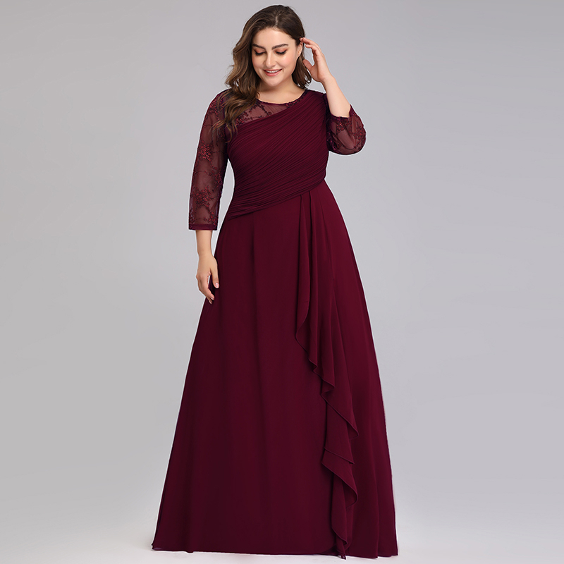 Elegant Plus Size Evening Dresses For Women A-Line O-Neck 3/4 Sleeve Cheap Lace Evening Gowns For Party Vestidos De Fiesta Largo