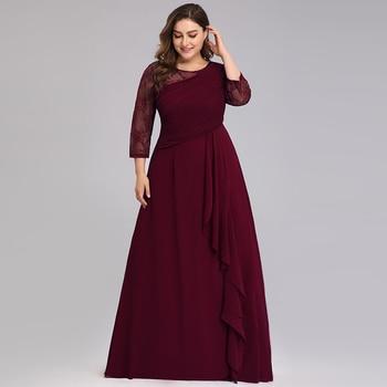 Elegant Plus Size Evening Dresses For Women A-Line O-Neck 3/4 Sleeve Cheap Lace Evening Gowns For Party Vestidos De Fiesta Largo