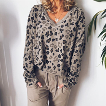 LOOZYKIT  Women 2019 New Autumn Fashion Leopard T-Shirt Print Sexy V-Neck Long Sleeve Tops Casual Loose T-Shirts Top