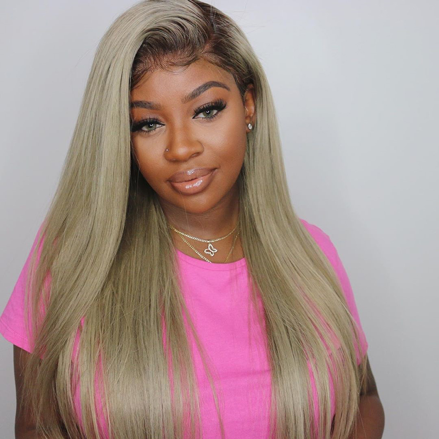 Ombre Blonde 60 Full Lace Wigs Human Hair Straight Peruvian Pre Plucked Baby Hair Long Ash Blonde Full Lace Wigs For  Women Remy