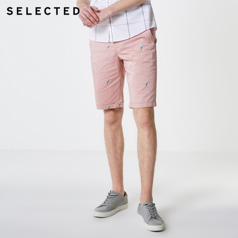 SELECTED Men Slightly Stretch Embroidered Cotton Regular Fit Shorts S|4192SH510