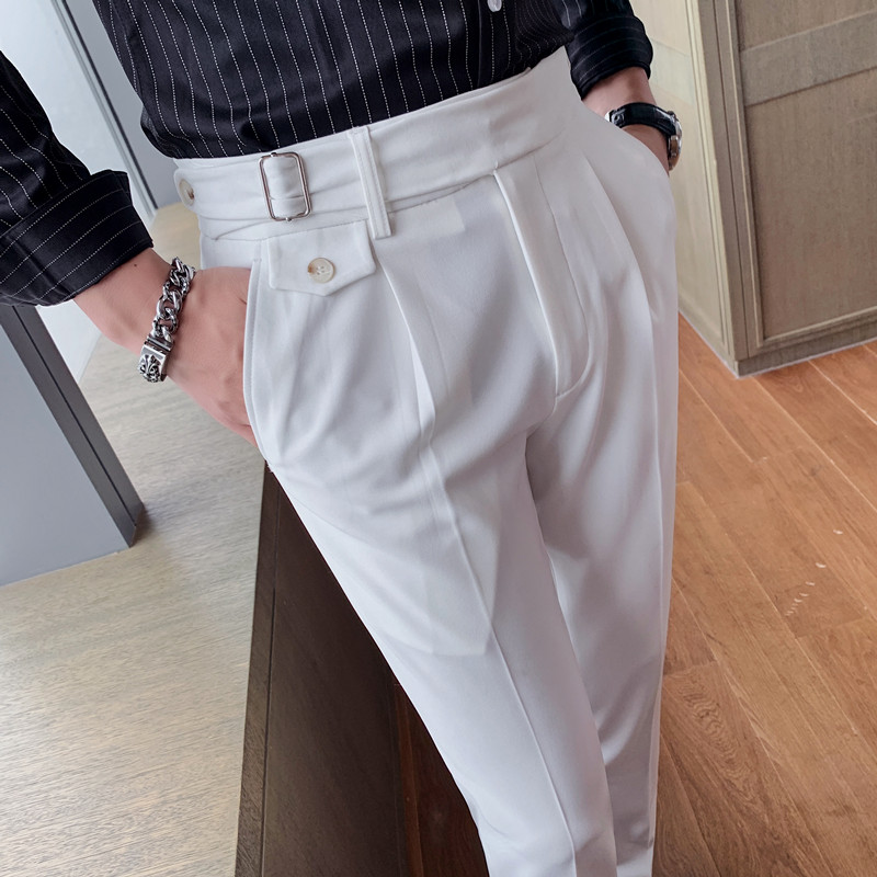 High Quality British Style Business Casual Slim Fit Men Dress Pants Solid All Match Formal Wear Office Trousers Gentlemen 36 29