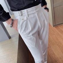 Pantalon habillé coupe cintrée pour homme, tenue de bureau, Style britannique, de haute qualité, couleur unie, 36-29