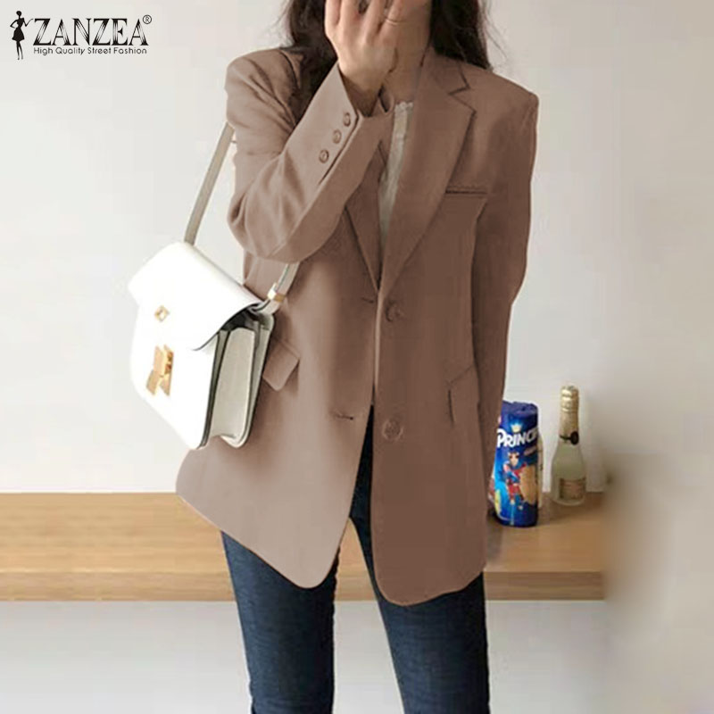 Women's Blazers ZANZEA 2019 Fashion Casual Long Sleeve Blusas Female Single-breasted Outwears Female Office Lady Coats Plus Size