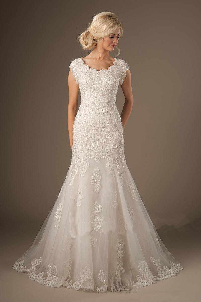 Modest Mermaid Wedding Dresses With Cap Sleeves Scoop Neck Beaded Lace Appliques Tulle Temple Bridal Gowns Luxury Custom Made