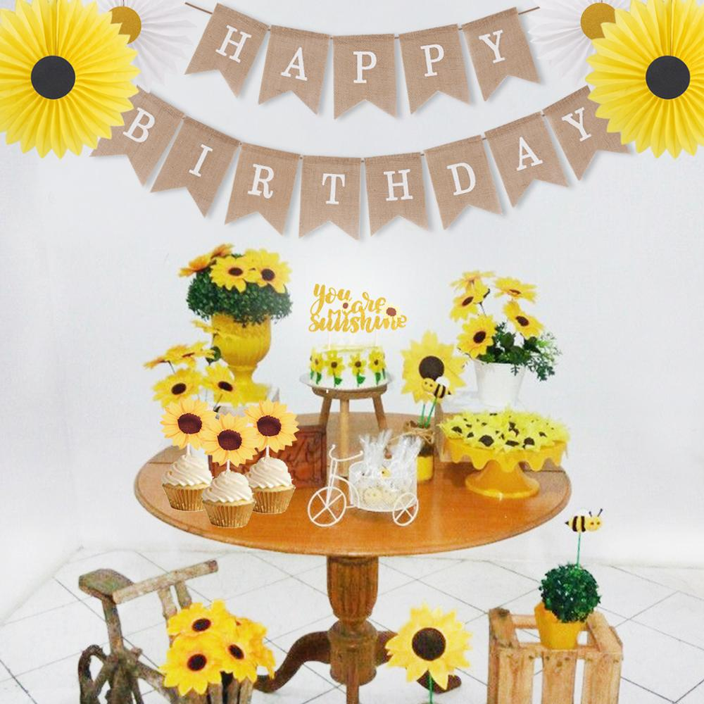 QIFU Sunflower Birthday Party Supplies Kit Happy Birthday ...