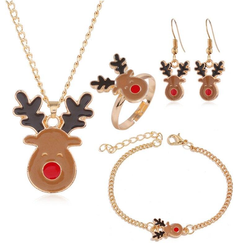 Royal Blue Crystal Reindeer Deer Christmas Jewellery Set Stud Earrings Necklace