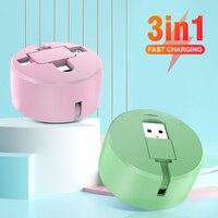 Cable de datos portátil 3 en 1, Cable de datos Micro USB/Tipo C/8 pines, carga able con soporte para teléfono, Cable USB retráctil para iPhone 12 11 Pro