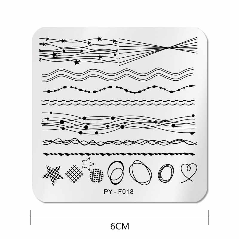 PICT คุณแผ่นปั๊มเล็บสายเรขาคณิตสแควร์แม่แบบแสตมป์แสตมป์สแตนเลสสตีลเล็บศิลปะภาพ Stencil เครื่องมือ