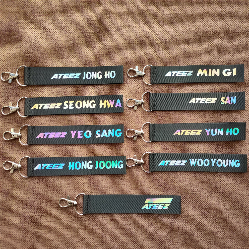 Kpop ATEEZ Member Laser Lanyard Keychain Mobile Phone Hang Rope Key Chains Keyring Kpop ATEEZ Pendant High Quality New Arrivals