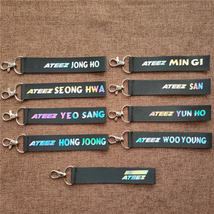 Kpop ATEEZ Member laser Lanyard keychain mobile phone hang rope Key Chains Keyring Kpop ATEEZ Pendant High quality new arrivals(China)