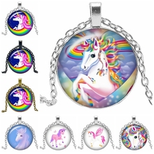 2019 New Creative Cartoon Anime Cute Unicorn Chain Gift Glass Convex Round Pendant Necklace Fashion Jewelry