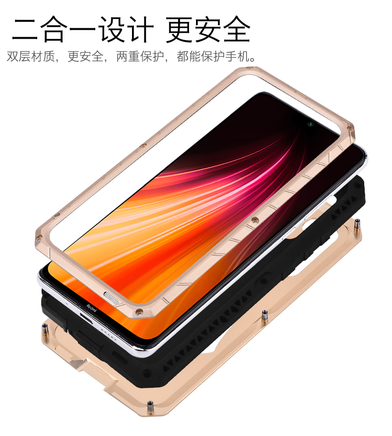 Image 5 - IMATCH Aluminum Metal Silicone Shockproof Case Cover For Xiaomi Redmi Note 8 / Note 8 Pro Dirt Shock Proof Cover CaseFitted Cases   -
