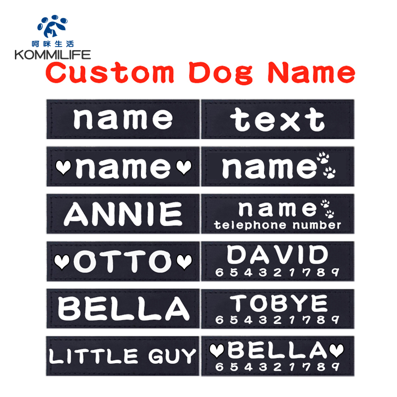 2 PCS PU Personalized Dog Tag Dog Name Custom K9 Dog Harness Collar Label Sticker Custom Dog Tag Pet Dog Harness Name Tag