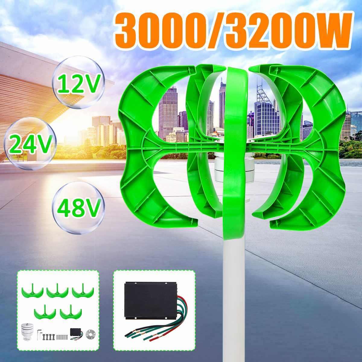 3200W/3000W Wind Generator 5 Blades generator 12/24/48V Lantern wind turbines Vertical Axis For Household Streetlight+Controller