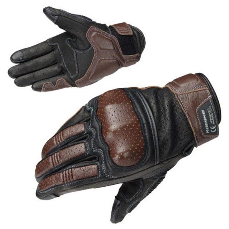 Komine Retro rękawice motocyklowe wyścigi oddychający ekran dotykowy pełne rękawiczki Moto Protect Gear Luvas motocykl jazda Guante