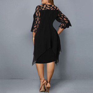 Женское черное платье, прозрачные сетчатые шифоновые ажурные элегантные платья с круглым вырезом, повседневное женвечерние вечернее платье 2020 женское платье платье платье 2021 платье женское вечернее платье