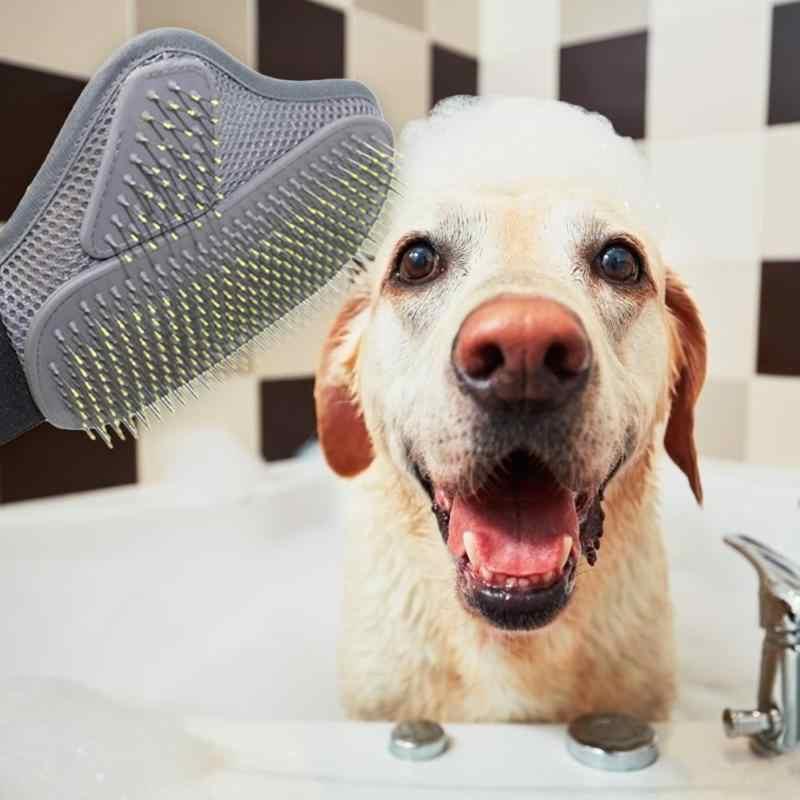 TPR Grigio Pet Attrezzi strigliatura e tolettatura Guanto di Palma A Forma di Gatto Del Cane Pettine Spille Bagno di Pulizia Spazzola per Animali Accessori di Cura per Rilassare I Muscoli
