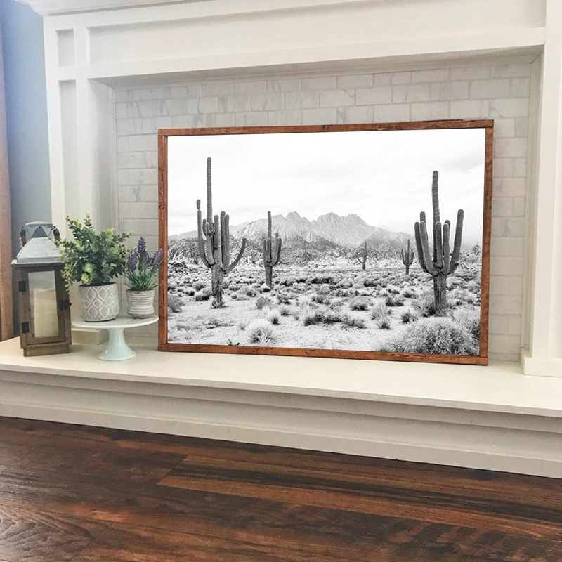Desert Landscape Black And White Print Modern Photography Poster Saguaro Cactus Art Canvas Painting Picture Home Wall Art Decor
