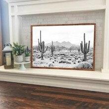 砂漠の黒と白のプリント現代写真ポスターsaguaroサボテンアートキャンバスの絵の壁の芸術の装飾