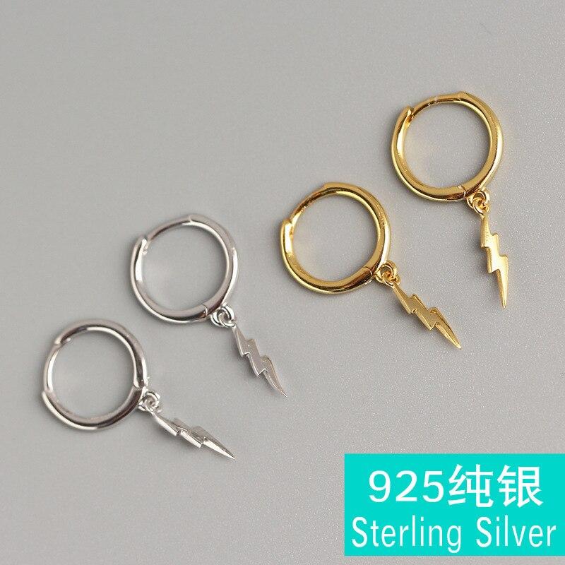 neutral cold wind female 925 sterling silver earrings minimalist punk thunder lightning ear clip bones