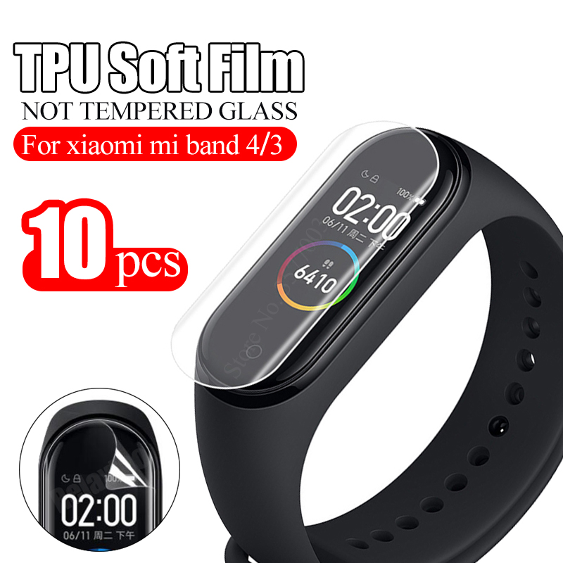 10Pcs Protective Film For Xiaomi Mi Band 4 3 Smart Wristband Bracelet Full Screen Protector Hydrogel Film Not Tempered Glass