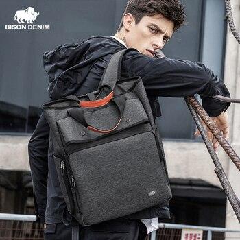 BISON DENIM Fashion Backpack 17 inch Laptop School Rucksack Large Capacity Water Repellent Travel Back Pack Mochila N2883
