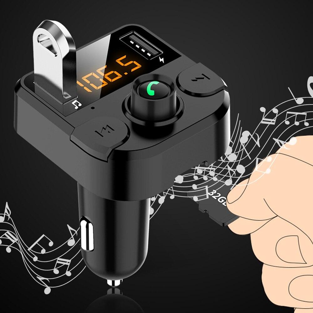 Car Bluetooth Player Power Adapter DC12V -24V Handsfree Car Kit FM Transmitter Support TF Card U Disk QC2.0 3.1A USB Charger